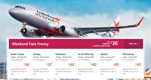 Jetstar's weekend fare frenzy features promo fares fr $36 all-in for travel up to Nov 2017. Book from 24 – 26 Feb 2017