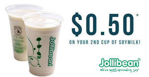 Jollibean offers second cup of Soymilk for 50cents only at selected outlets from 23 Feb 2017