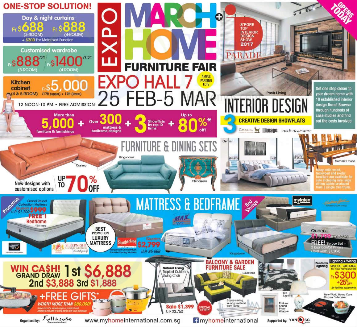 March Home Expo Furniture Fair At Singapore Expo From 25 Feb 5 Mar 2017