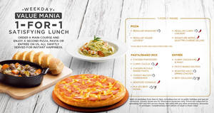 Pizza Hut 1-for-1 mains lunch deals (pizzas, pastas, entrees & more) on weekdays from 2 Feb 2017