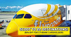 Scoot offers 20% off selected fares for Citibank cardholders from 22 – 25 Feb 2017