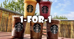 Starbucks 1-for-1 treat is back! Enjoy 1-for-1 on any Venti-sized beverage from 26 – 30 Jun 2017, 3 – 5pm