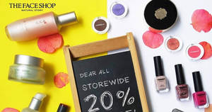 The Face Shop throws 20% off all reg-priced items from 24 – 28 Feb 2017