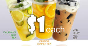 Toast Box to offer its new tea beverages for only $1 each (u.p. $3.80) at Tampines Mall on 28 Feb 2017