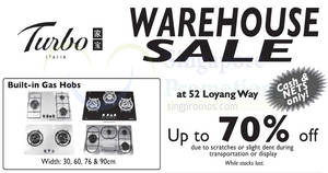 Turbo up to 70% off home appliances warehouse sale! From 18 – 19 Nov 2017