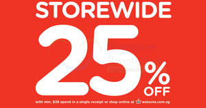 Watsons throws 25% off storewide sale with min $38 spend for members ($5 membership) on 24 May 2017