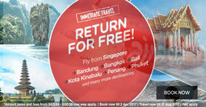 Air Asia: Pay to go, return for FREE* promo! Travel up to 31 Aug '17. Book from 27 Mar – 2 Apr 2017