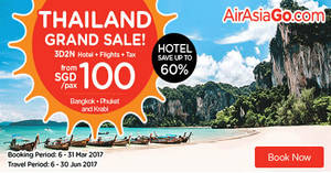 Grab a 3D2N Thailand vacation fr $100/pax (Hotel + Flights + Taxes) with Air Asia Go's latest promo. Book from 6 – 31 Mar 2017