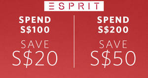 Esprit: Save $20 to $50 off reg-priced items at the online store from 24 – 30 Aug 2017