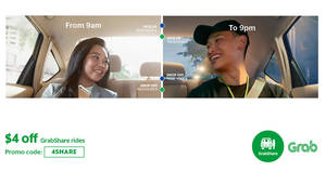Save $4 off GrabShare rides this week! Valid from 25 – 31 Mar 2017, 9am – 9pm daily