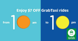 Enjoy $7 OFF on GrabTaxi (10am – 10pm) daily from 20 – 24 Mar 2017