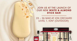 Taste Haagen-Dazs's newest creation – White & Almond Stick Bar – for FREE at ION Orchard from 23 – 26 Mar 2017