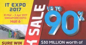 IT Expo offers discounts of up to 90% off at Singapore Expo from 31 Mar – 2 Apr 2017