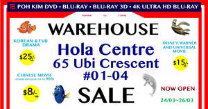 Poh Kim Video Blu-ray warehouse sale at Hola Centre from 24 – 26 Mar 2017