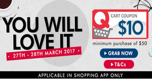 Qoo10 is giving away free $10 cart coupons from 27 – 28 Mar 2017