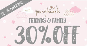 Young Hearts Lingerie: 30% off all reg-priced items at all boutiques from 24 – 26 Mar 2017
