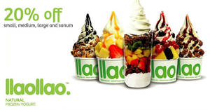 llaollao: 20% off small, medium, large & sanums on Tuesdays (11am to 4pm) from 21 Mar 2017