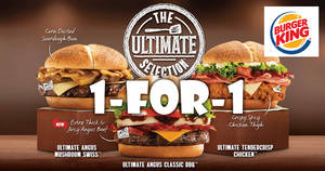 Burger King: 1-for-1 Ultimate Selection Value Meal (U.P. $8.90 – S$9.90) with UOB mobile payments from 24 – 28 Apr 2017