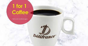 Delifrance: 1-for-1 coffee promotion at all* outlets from 23 – 29 Apr 2017