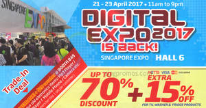Digital Expo offers discounts of up to 70% off at Singapore Expo from 21 – 23 Apr 2017