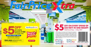 Fairprice: $5 off coupons valid for use in-stores and online! Coupons valid till 3 May 2017