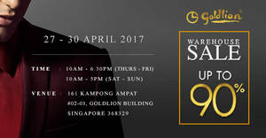 Goldlion warehouse sale up to 90% off from 27 – 30 Apr 2017