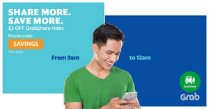 Grab: $3 off GrabShare rides promo code valid 9am to 12mn from 22 – 28 Apr 2017