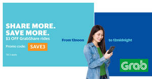 Grab: $3 off GrabShare rides promo code valid 12pm to 12mn from 29 Apr – 5 May 2017