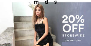 MDS Collections online store offers 20% off storewide with this promo code valid on 1 May 2017