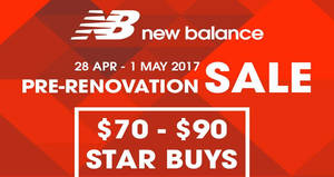 New Balance 20% off storewide & more sale at Velocity@Novena Square from 28 Apr – 1 May 2017