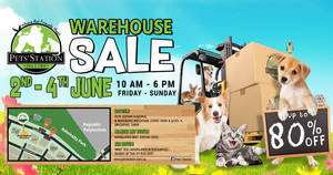 Pets' Station's warehouse sale returns with discounts of up to 80% off from 2 – 4 Jun 2017