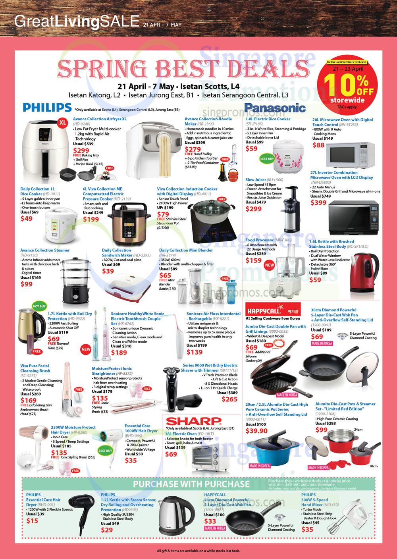 Philips, Panasonic, Air Fryer, Noodle Maker, Sandwich Maker, Happycall Double Pans
