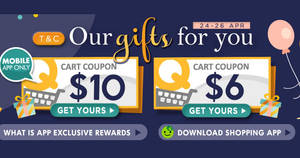 Qoo10 is giving away free $6 & $10 cart coupons from 24 – 26 Apr 2017