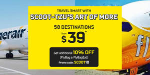 Scoot & Tigerair 4-day sale featuring all-in fares fr $39 for travel up to March 2018! Book from 20 – 23 Apr 2017