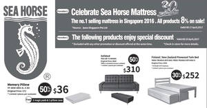 Sea Horse offers 30% to 50% off selected furniture, mattresses, beds & more from 14 – 23 Apr 2017