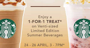 Starbucks: Enjoy a 1-for-1 treat on the limited edition summer beverages from 24 – 26 Apr 2017, 3 – 7pm