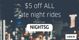 Get $5 off unlimited uberX & uberPOOL late night rides valid from 29 Apr – 5 May 2017, 12am – 6am!