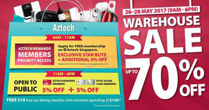 Aztech warehouse sale returns with discounts of up to 70% OFF! From 26 – 28 May 2017