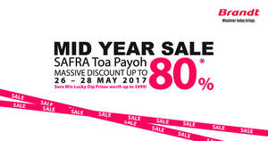 Brandt Mid Year Sale at SAFRA Toa Payoh from 26 – 28 May 2017