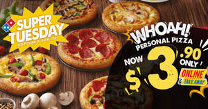 Domino's Pizza: $3.90 personal pizzas when you order online on Tuesdays from 30 May 2017