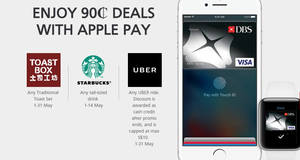 Enjoy 90¢ deals at Starbucks, Uber & Toast Box with DBS/POSB Apple Pay payments till up to 31 May 2017