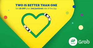 Grab: Enjoy $5 off your second daily JustGrab ride from 22 – 28 May 2017, 12pm to 12am daily!