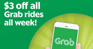 Grab: $3 off ANY Grab ride (except GrabHitch & GrabShuttle) promo code valid from 29 May – 4 Jun 2017, 10am onwards daily!