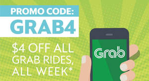 Grab: $4 off ANY Grab ride (except GrabHitch) promo code valid from 22 – 28 May 2017, 10am – 10pm daily!