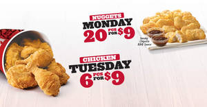 KFC: 6pcs chicken for $9 on Tuesdays from 9 May 2017