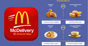 McDonald's Mcdelivery: Coupon Codes for additional freebies valid from 11 – 31 May 2017