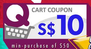 Qoo10: Grab free $10 cart coupons on 24 May 2017