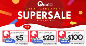 Qoo10: Grab free $5, $20 & $100 cart coupons from 25 – 28 May 2017