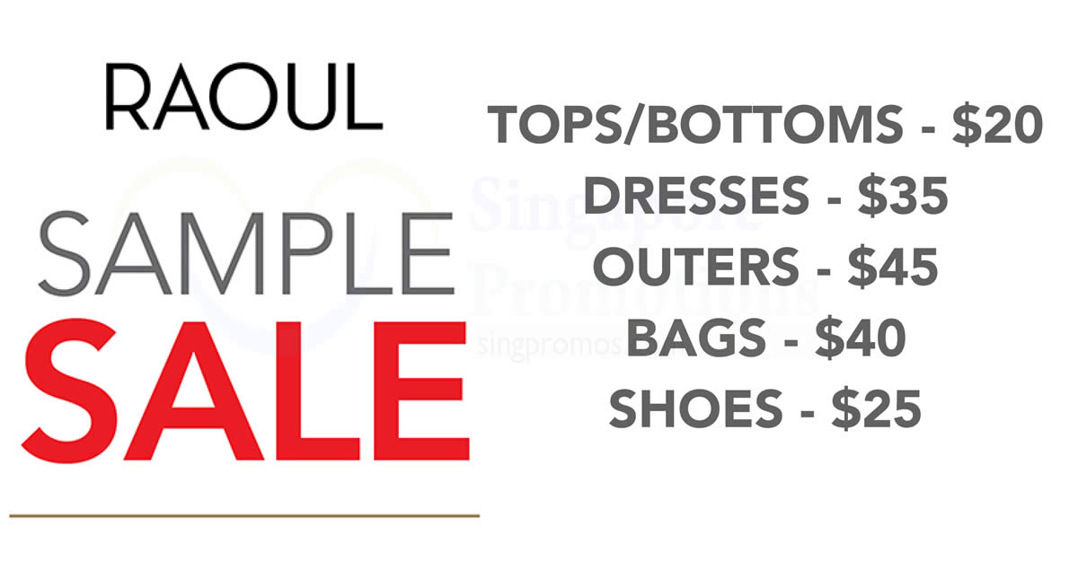 Raoul sample sale from 23 – 25 May 2017