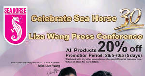 Sea Horse: 20% off ALL products for 5-days only from 26 – 30 May 2017